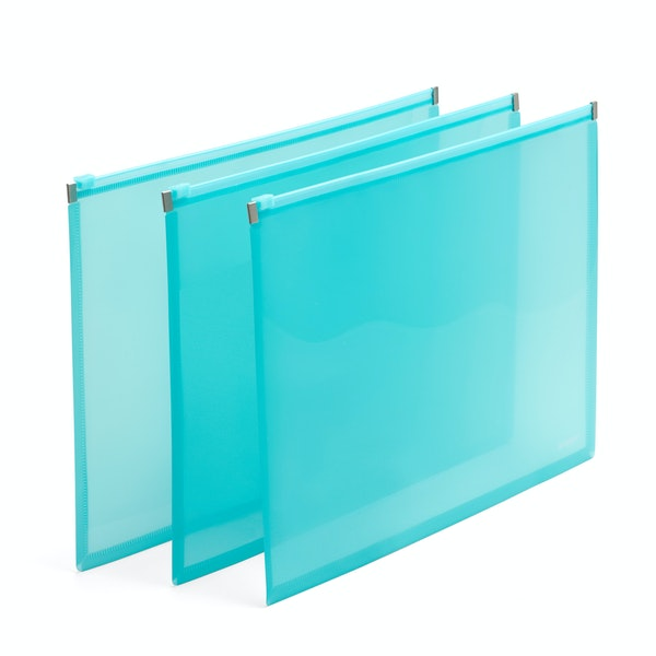 Large Aqua Zip Folios, Set of 3,Aqua,hi-res