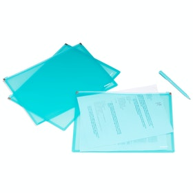 Large Aqua Zip Folios, Set of 3