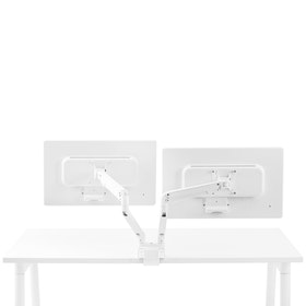 White Swing Double Monitor Arm