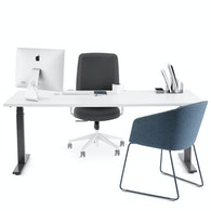 Series L Adjustable Height Single Desk, White Legs,White,hi-res