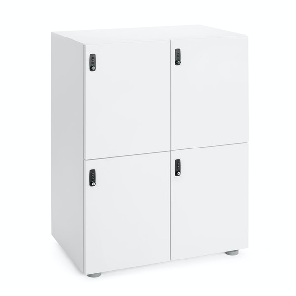 White Stash 4-Door Locker,White,hi-res