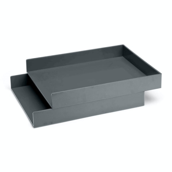 Dark Gray Letter Trays, Set of 2,Dark Gray,hi-res