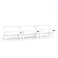 Series L Adjustable Height Double Desk for 6, White Legs,White,hi-res