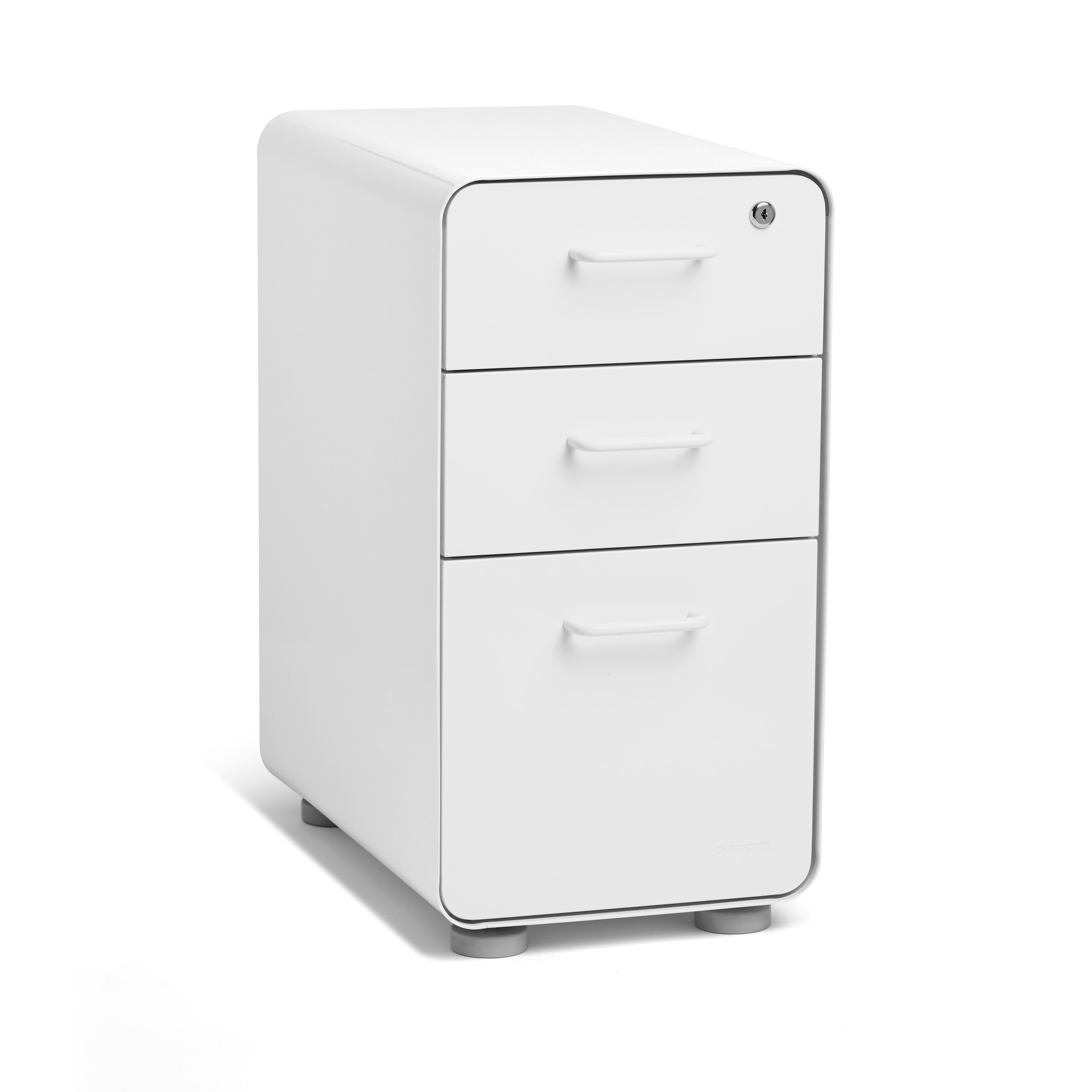 Attractive White Slim Stow 3 Drawer File Cabinet,White,hi Res