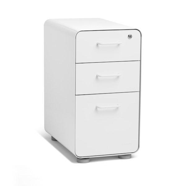 White Slim Stow 3-Drawer File Cabinet,White,hi-res