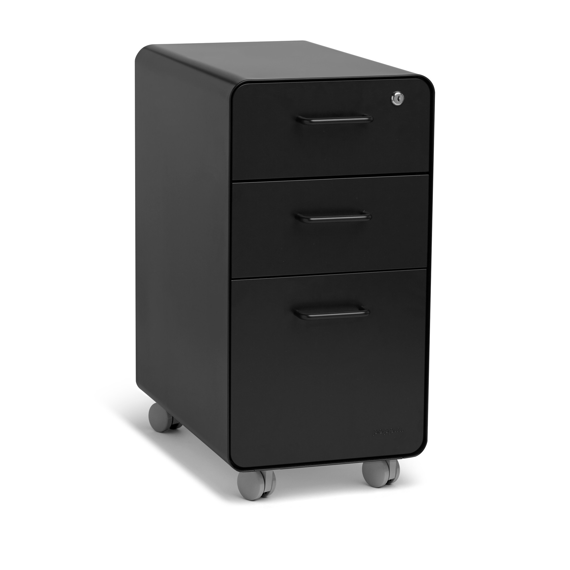 Black Slim Stow 3 Drawer File Cabinet, Rolling,Black,hi Res