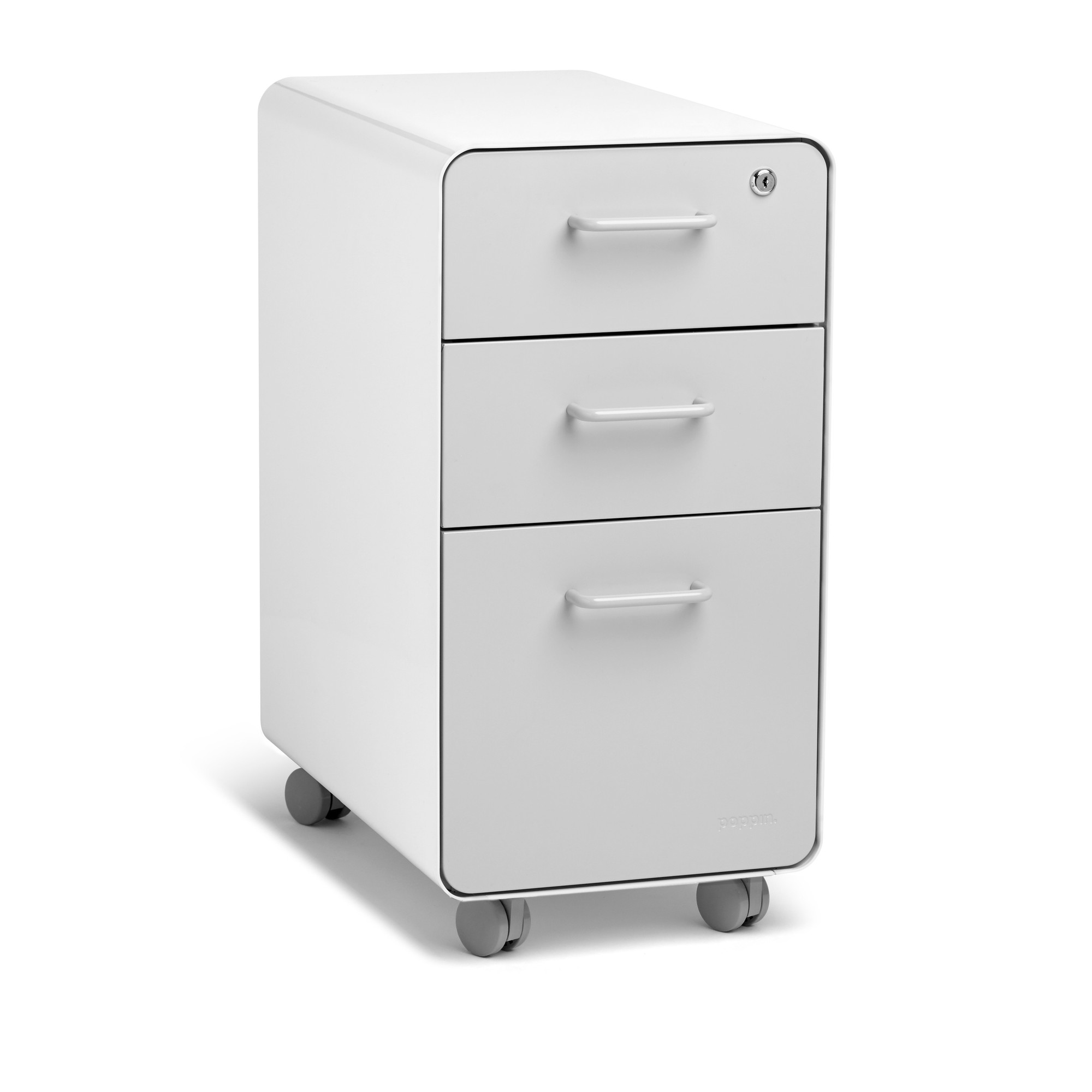 White + Light Gray Slim Stow 3 Drawer File Cabinet, Rolling ...