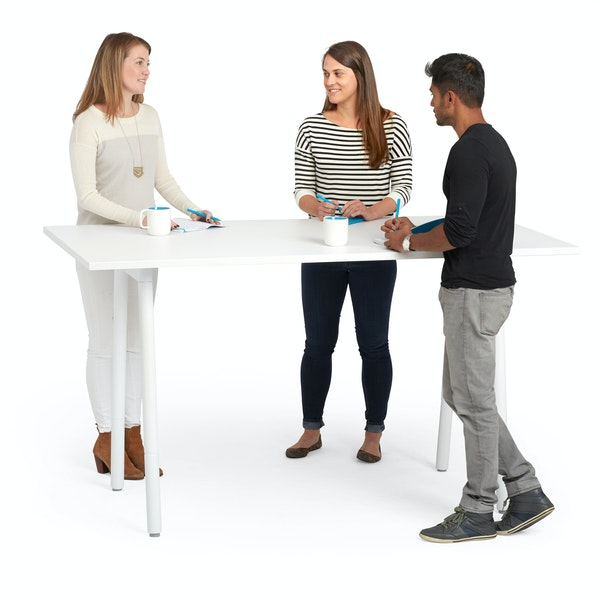 "Series A Standing Table, White, 72x36"", White Legs,White,hi-res"