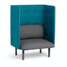 Dark Gray + Teal QT Privacy Lounge Chair,Dark Gray,hi-res
