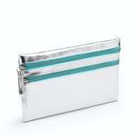Silver + Aqua Slim Double-Zip Accessory Pouch,,hi-res