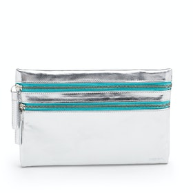 Silver + Aqua Slim Double-Zip Accessory Pouch