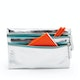 Silver + Aqua Slim Double-Zip Accessory Pouch,,hi-res