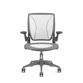 Pinstripe Mesh White World Task Chair, Adjustable Arms, Gray Frame