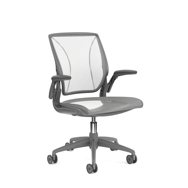 Pinstripe Mesh White World Task Chair Adjule Arms Gray Frame Hi