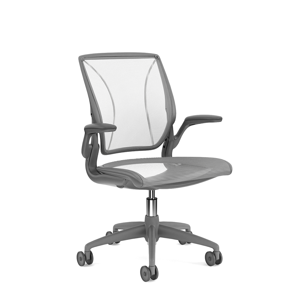 Superior Images. Pinstripe Mesh White World Task Chair, Fixed Arms ...