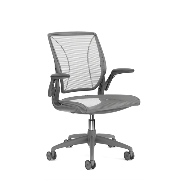 Pinstripe Mesh Silver World Task Chair, Adjustable Arms, Gray Frame,Silver,hi-res