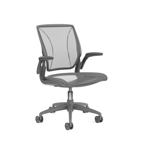 Pinstripe Mesh Gray World Task Chair, Adjustable Arms, Gray Frame