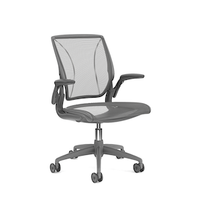 Pinstripe Mesh Black World Task Chair, Adjustable Arms, Gray Frame