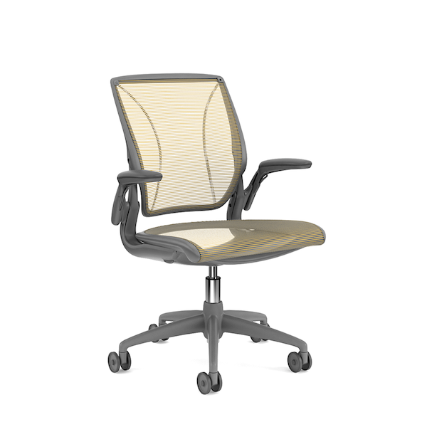 Pinstripe Mesh Yellow World Task Chair, Adjustable Arms, Gray Frame,Yellow,hi-res