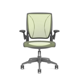 Pinstripe Mesh Green World Task Chair, Adjustable Arms, Gray Frame