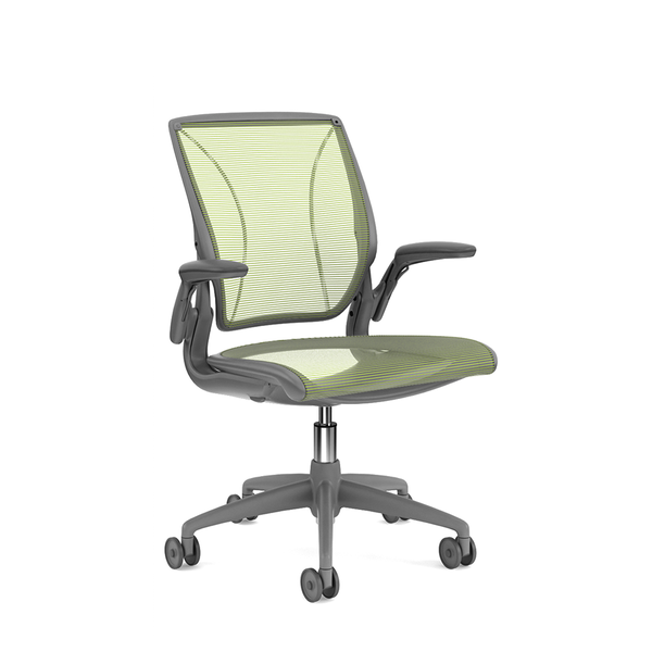 Pinstripe Mesh Green World Task Chair, Adjustable Arms, Gray Frame,Green,hi-res
