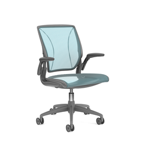 Pinstripe Mesh Blue World Task Chair, Adjustable Arms, Gray Frame