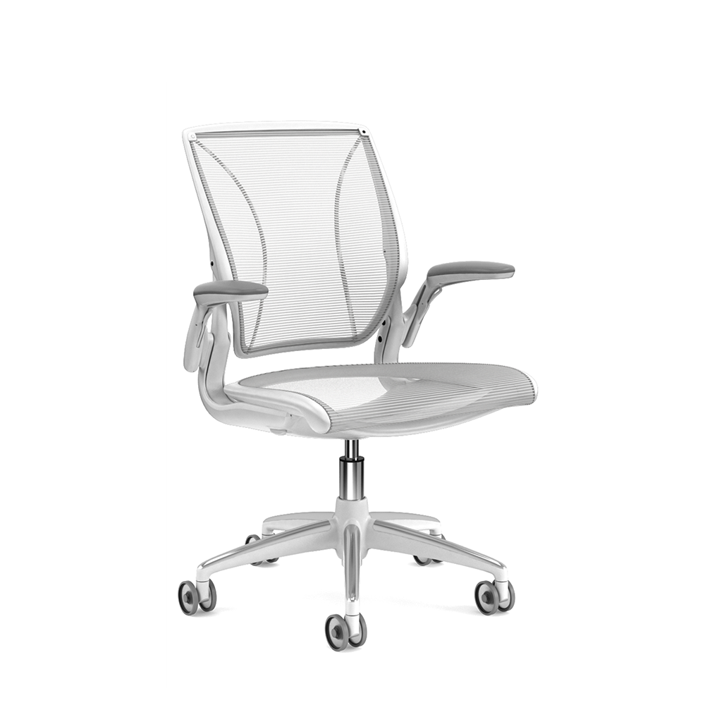 Pinstripe Mesh White World Task Chair, Adjustable Arms, White Frame,White,hi