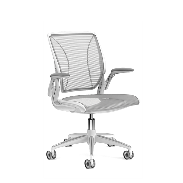Pinstripe Mesh Silver World Task Chair, Adjustable Arms, White Frame,Silver,hi-res