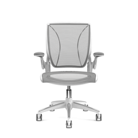 Pinstripe Mesh Gray World Task Chair, Adjustable Arms, White Frame