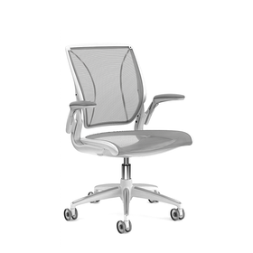 Pinstripe Mesh Black World Task Chair, Adjustable Arms, White Frame