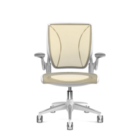 Pinstripe Mesh Yellow World Task Chair, Adjustable Arms, White Frame