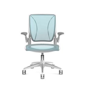Pinstripe Mesh Blue World Task Chair, Adjustable Arms, White Frame