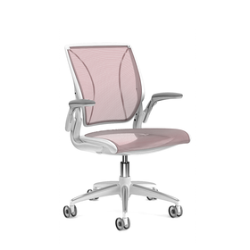 Pinstripe Mesh Red World Task Chair, Adjustable Arms, White Frame