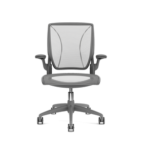 Pinstripe Mesh Silver World Task Chair, Fixed Arms, Gray Frame