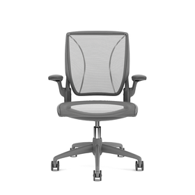Pinstripe Mesh Gray World Task Chair, Fixed Arms, Gray Frame
