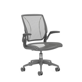 Pinstripe Mesh Black World Task Chair, Fixed Arms, Gray Frame