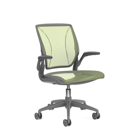 Pinstripe Mesh Green World Task Chair, Fixed Arms, Gray Frame