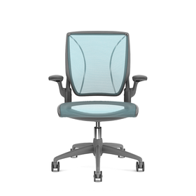 Pinstripe Mesh Blue World Task Chair, Fixed Arms, Gray Frame