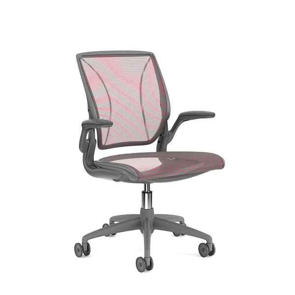 Pinstripe Mesh Red World Task Chair, Fixed Arms, Gray Frame,Red,hi-res
