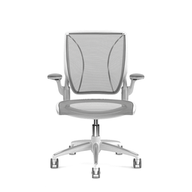 Pinstripe Mesh Black World Task Chair, Fixed Arms, White Frame