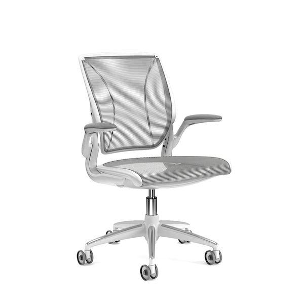 Pinstripe Mesh Black World Task Chair, Fixed Arms, White Frame,Black,hi-res
