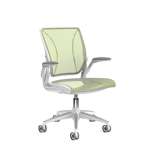 Pinstripe Mesh Green World Task Chair, Fixed Arms, White Frame,Green,hi-res