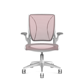 Pinstripe Mesh Red World Task Chair, Fixed Arms, White Frame