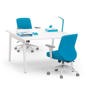 "Series A Double Desk for 2, White, 47"", White Legs,White,hi-res"