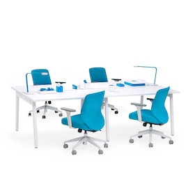 "Series A Double Desk for 4, White, 47"", White Legs,White,hi-res"
