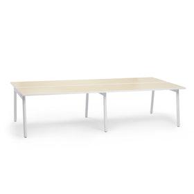 """Series A Double Desk for 4, Light Oak, 57"""", White Legs,Light Oak,hi-res"""