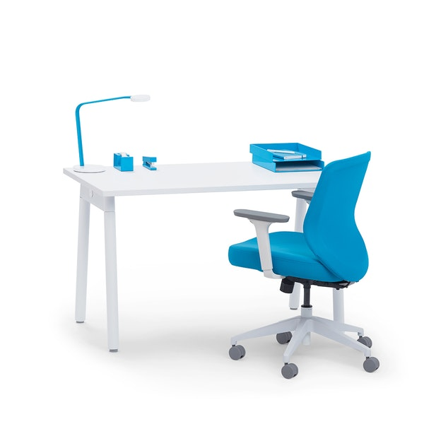 "Series A Single Desk for 1, White, 47"", White Legs,White,hi-res"