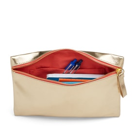 Gold + Coral Slim Accessory Pouch