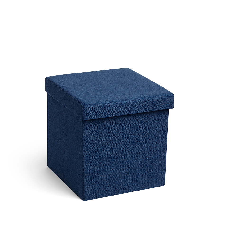 Images - Navy Box Seat Storage Ottomans Poppin