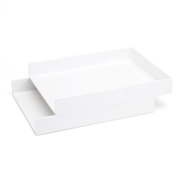 White Letter Trays, Set of 2,White,hi-res